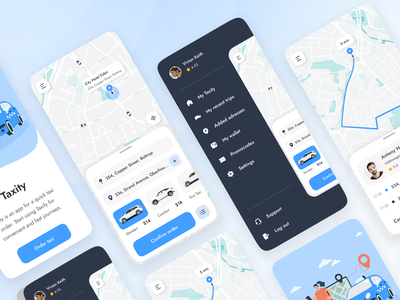 Taxity map hamburger menu frames figma ios taxi app taxi mobile mobile app home user experience user interface ui ux studio layo flat design