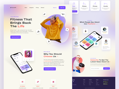 FormatFit landing page blur layout sport fitness website web color landing page user interface user experience home ux ui studio layo flat design