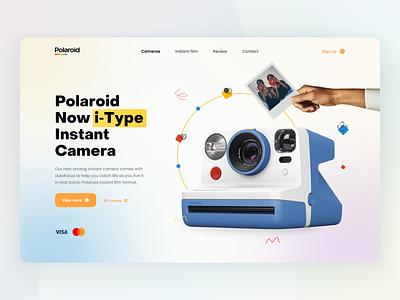 Polaroid concept gradient blur polaroid camera website web user interface user experience home ux ui studio layo flat design