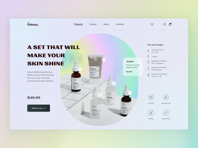 The Ordinary product page concept product design ecommerce cosmetics product product page website user interface user experience home ux ui studio layo flat design
