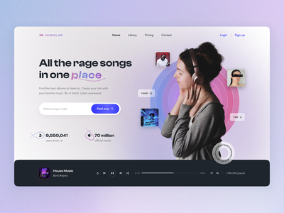 MusicLab Home page search player music homepage home website user interface user experience ux ui studio layo flat design