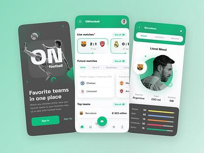 OnFootball mobile app branding logo color sport navigation online application mobile app football soccer user interface home ux ui studio layo flat design