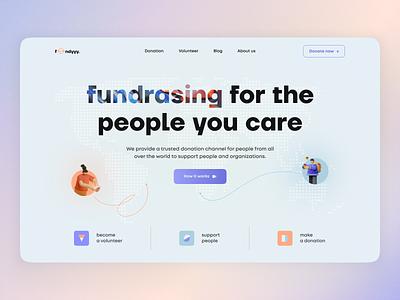 Fondyyy finance platform donate 3d color fonts finance user interface home ux ui studio layo flat design