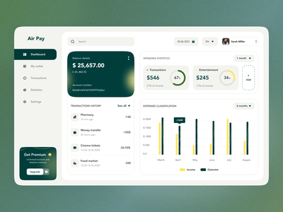 Air Pay finance dashboard trend blur noise color board bank graphic design user experience user interface money finance dashboard ux ui studio layo flat design