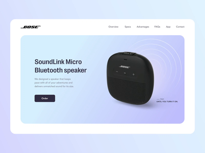Bose portable speaker animation landing page product design product scroll interaction motion design motion graphics speaker bose branding 3d user interface home ux ui studio layo flat design