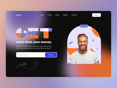 EasyPay branding graphic design payment bank dark form mail user experience user interface finance home ux ui studio layo flat design