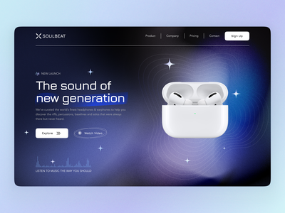Soulbeat home page page product web design noise blur headphones dark mode landing page user interface user experience branding home ux ui studio layo flat design