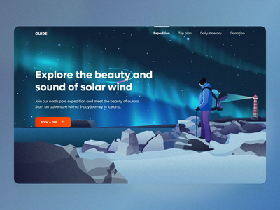 Guide travel website graphic design donate pricing travel landing page user interface user experience parallax animation motion graphics illustration home ux ui studio layo flat design