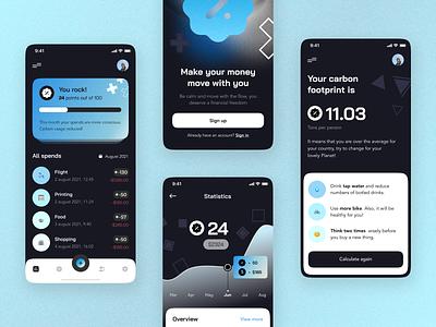 Financy mobile app dark mobila app tokens money finance ios user interface user experience graphic design illustration home ux ui studio flat layo design