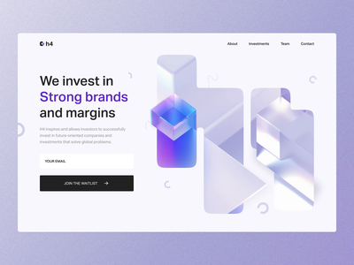 H4 investors landing page parallax scroll cta crypto invest branding 3d after effects motion motion graphics user interface user experience landing page home ux ui studio layo flat design