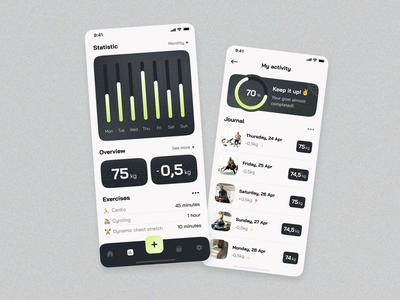 FitJam fitness app animation 3d bar navigation screen splash after effects statistic mobile app android ios fitness motion graphics home ux ui studio layo flat design