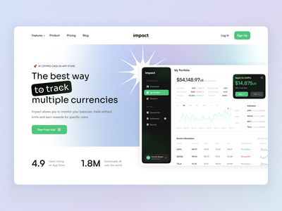 Impact home page branding graphic design user interface user experience gradient currency platform website dashboard home ux ui studio layo flat design