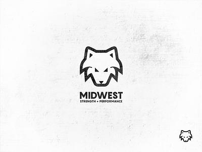 Midwest Strength + Performance fitness icon symbol brand mark logo design wip logo mark performance strength wolf logo gym