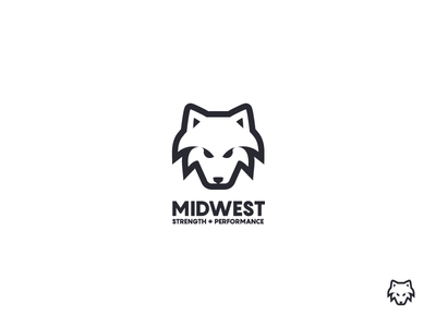 Midwest Strength + Performance (final) logo mark logo design brand mark wolf final symbol strength performance logo icon gym fitness