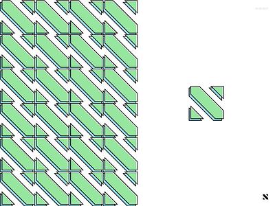 N Pattern geometric abstract letter green blue pattern n