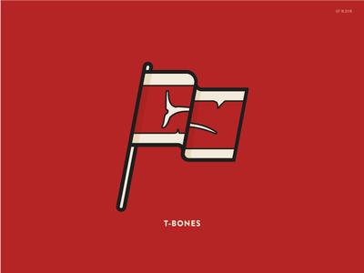 T Bones t-bone steak outline illustration icon flag
