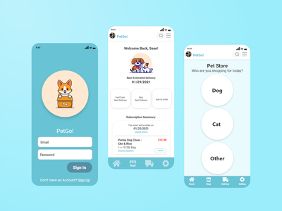 Pet Food Delivery App Mockup app design ux branding ui design