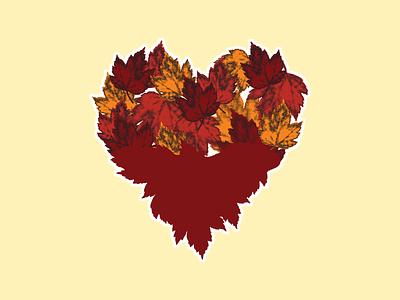 October Heart rebound leaves autumn sticker sticker mule contest heart maroon