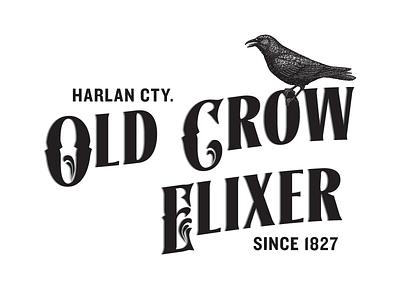 Label medicine crow black and white typography label vector