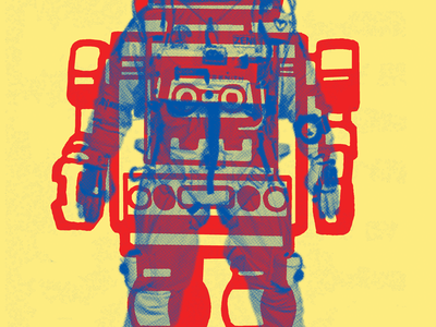 Man/astroman poster yellow red blue robot astronaut nasa 2ns french paper csa