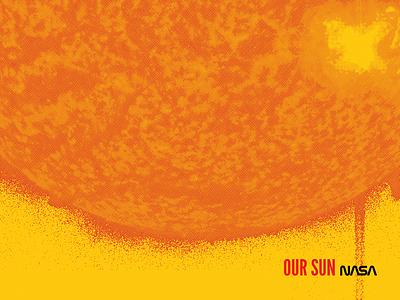Sun sun planets. 2nightstand poster. screen print halftone space