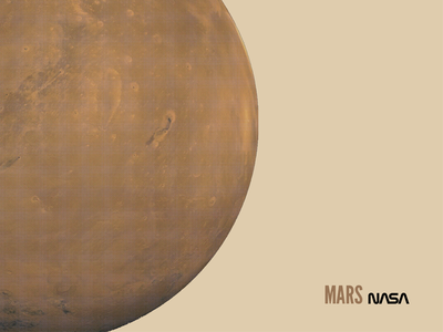 Mars planets. 2nightstand poster. screen print halftone space mars