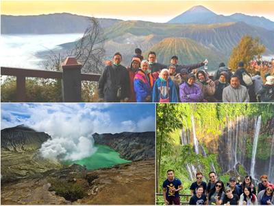 Paket Wisata Bromo  Kawah Ijen  Tumpak Sewu Waterfall tour hiking volcano trekking mountain travel