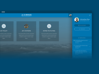 Cirrus User Side cirrus aircrafts course platform web app menu flat aircraft lessons course user white blue