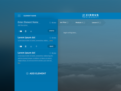 Cirrus Lesson Editor cirrus aircrafts lesson editor flying aircraft module text dark blue course lessons user admin edit
