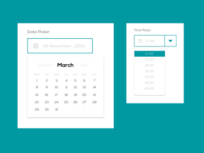 Date/Timepicker - 4macy ui design web design flat hours months green picker time date material elements calendar