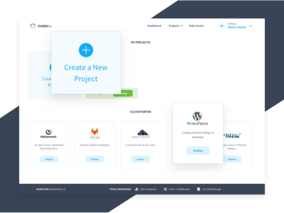 Sloppy.Io Dashboard dockerhub manage containers user interface deploy monitoring clickstarter wordpress new project projects dashboard