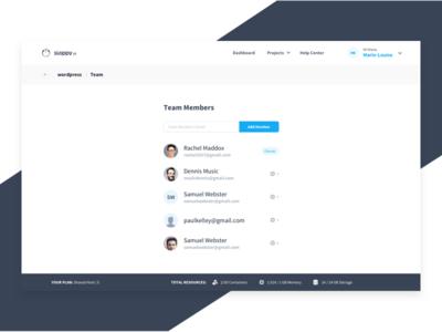 Sloppy.Io Team wordpress settings team members remove add clean white blue ui team dashboard app