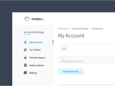 Sloppy.Io Account Settings dashboard settings menu account account menu my account blue white profile account settings