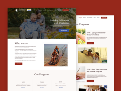 Independent Living Centre, Alaska interface home page modern clean red maroon landing page web design template ux ui