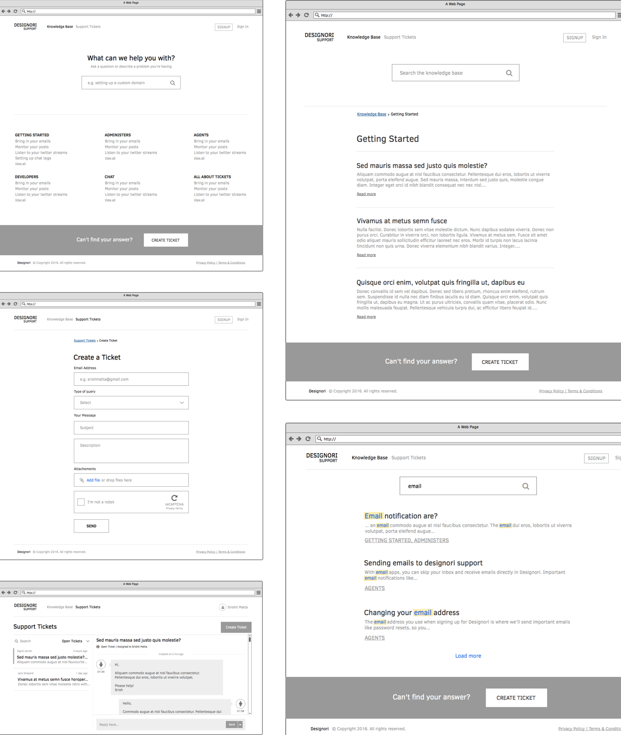 Support site wireframes 01