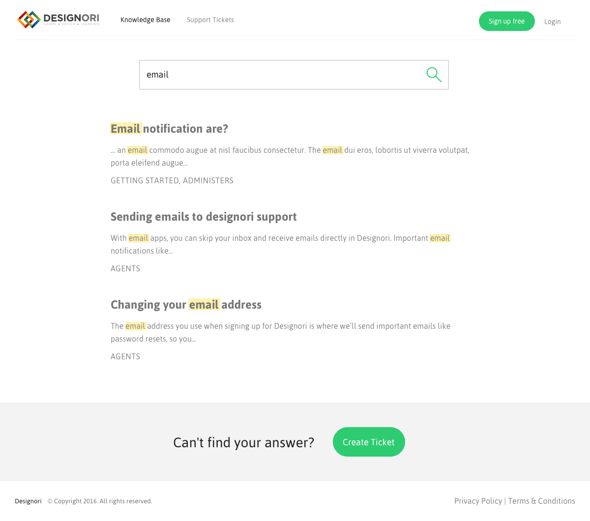 Support site knowledge base 01