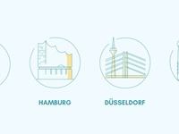 Location Icons colorful line icons places pastels yellow blue germany munich düsseldorf hamburg berlin location icons