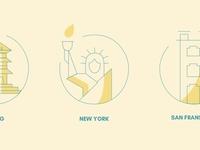 Location Icons clean beautiful design illustration yellow blue new york city location icon locations san fransisco new york peking