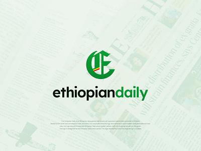 Ethiopian Daily - News Portal identity yellow red pictogram combination symbol typography newspaper green traditional modern news daily ethiopia illustrator logo branding graphic design design adobe