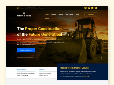 Thornton of Chicago high fidelity mockup company construction page landing home roboto logo excavator figma user experience ux user interface ui web graphic design xd adobe
