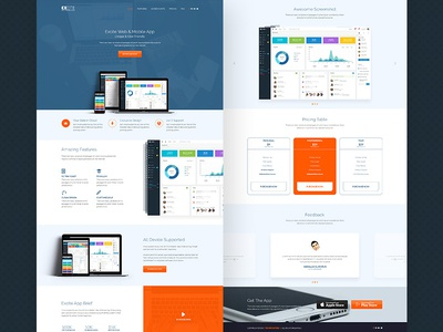Excite - App landing page