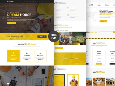 Construction Template (Freebie) one page architecture ui free download industry business building construction