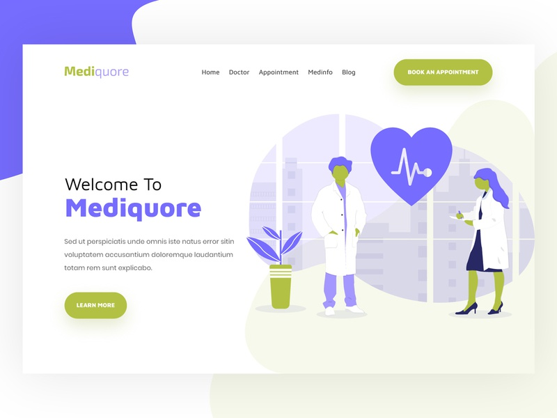 Mediquore || Header Exploration health care medical care clean ui 2018 logo user home page agency illustration website modern minimal landing page