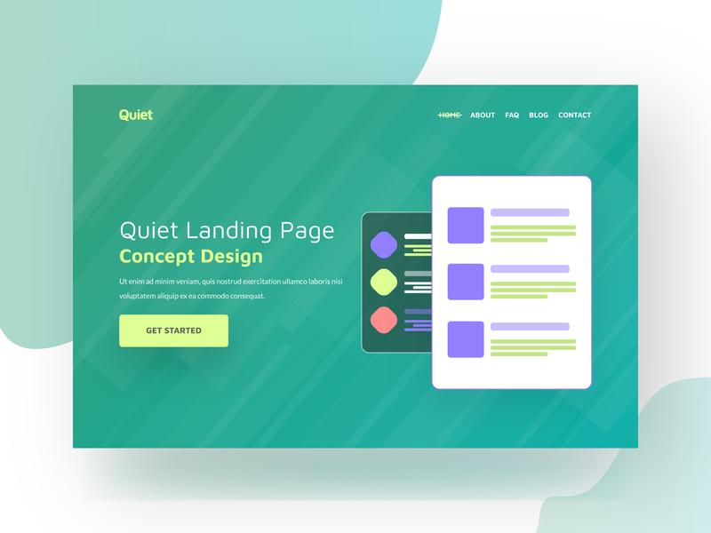 Quiet - Landing page concept 2018 website logo vector typography design illustration clean modern minimal agency ui landing page