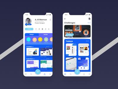 UpLabs Profile Ui Redesign (Freebie) app ux illustration website freebie figma vector user experience profile iphonex ios app design mobile ui design clean minimal ui