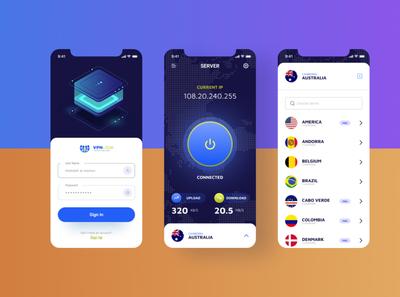Vpn App Ui Exploration 2019 design trend design mobile app figma interface vector icon modern clean creative vpn user screen ios app app design minimal ui