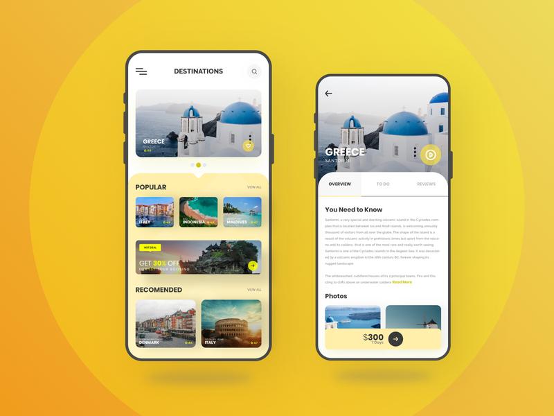Travo - Minimal Traveling App trip travel design clean orange blue web flat ux app modern agency vector minimal ui