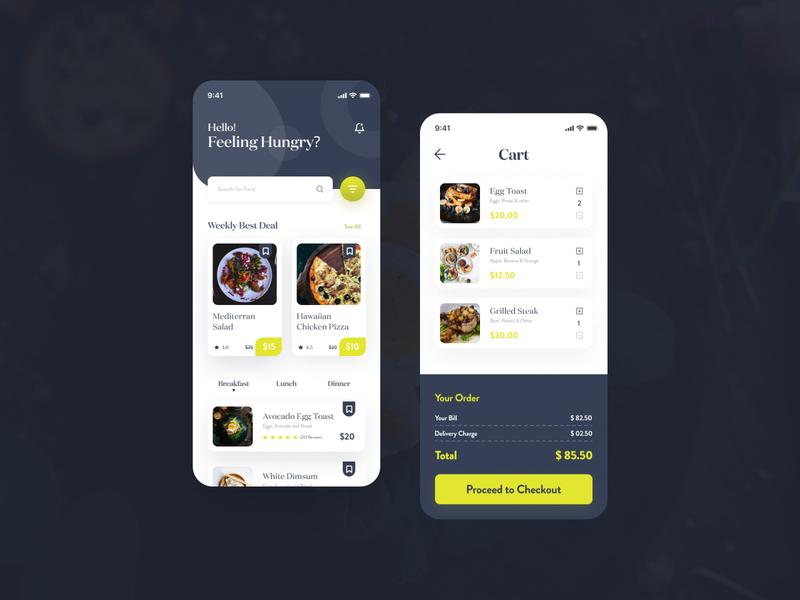 Food Delivery App order art delivery service recipe website restaurent orange mobile app icon ux design foodie chef cook clean food app app modern minimal ui