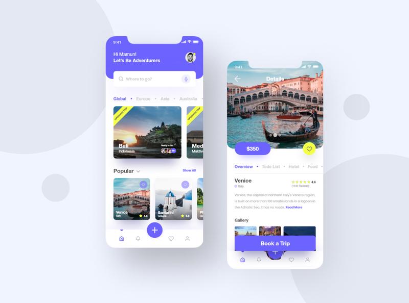 Tripon | Travel App gallery flight app icon figma ui illustration trip adventure modern clean destination tour guide travel app agency minimal app ui