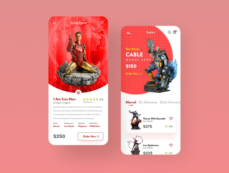 Action Figure Sale App (Freebie) user interface sale ironman marvel product online store ios icon free figma ux app ecommerce statue toy store modern design minimal ui